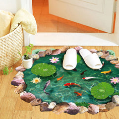 Carp Pond 3D Effect Wall Floor Stickers Waterproof for Home Decor