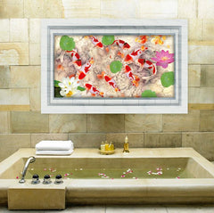 3D Floor Sticker Name Lotus Pond Waterproof Vinyl For Toilet Bathroom