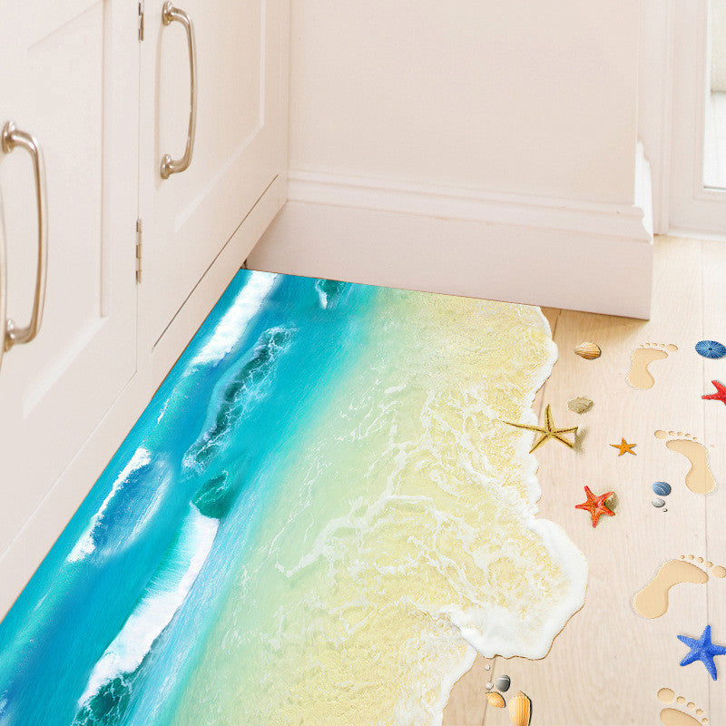 3D Ocean Sand Beach Shell Foot Print Wall Paper Stickers for all rooms