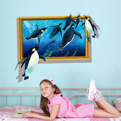 3D Animal Dolphins Vinyl Wall Sticker for Kids Room Poster Home Decor