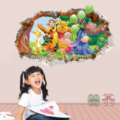 baby gift removable kids bedroom wall decor 3D pooh wall stickers
