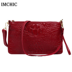 IMCHIC Women Clutch Bags Vintage Split Leather Crocodile Pattern