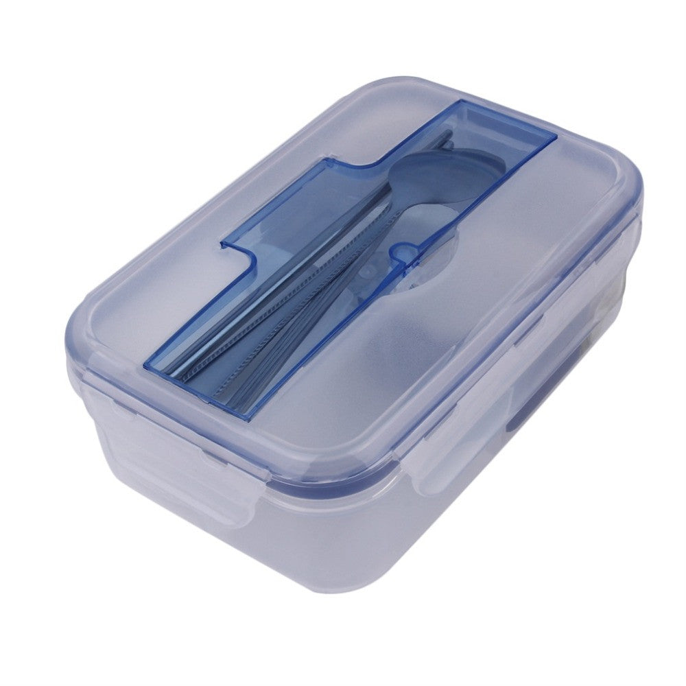 1000mL Plastic Portable Microwave Lunch Box with Soup Bowl Chopsticks Spoon Food Containers