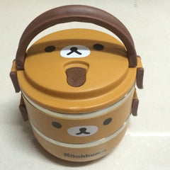 Two Layer Cartoon Portable Thermal Insulated Food Storage Lunch Box for Kids