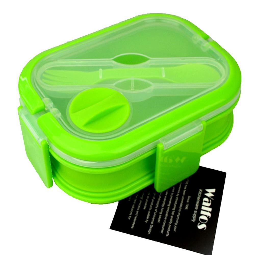 KITNEWER 2 Layers Colorful Collapsible Portable Silicone Lunch Box For Kids