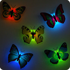 Self-adhesive 5PCS butterfly shape decorative night light wall lamp