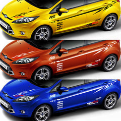 WRC style car whole body styling, racing waistline+head+door decor stickers for Ford Fiesta