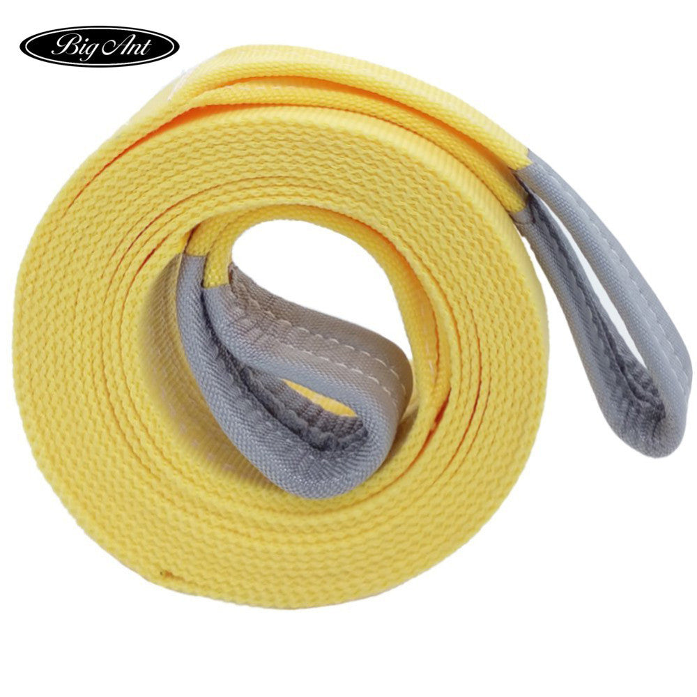 Vechicle Nylon Recovery Tow Strap 20K Lb Capacity Emergency Heavy Duty