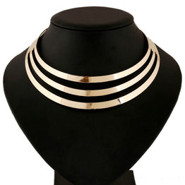 Gorgeous Multi Layer Metal Bib Collar Necklace for Women