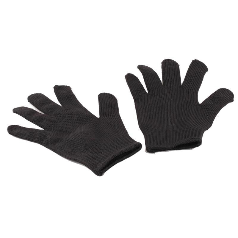 1 Pair Black Stainless Steel Wire Resistance Gloves