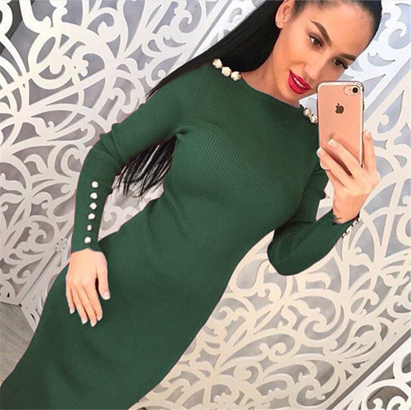 Kintted Sweater Dress Casual Mide Solid Long-Sleeved Sexy Dress