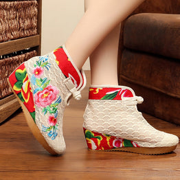 Embroidered Mesh fabric Ethnic floral design boots for Women
