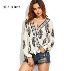 SheInnet Apparel Women Blouses Sexy Plunge Neck White Long Sleeve Shirt Top