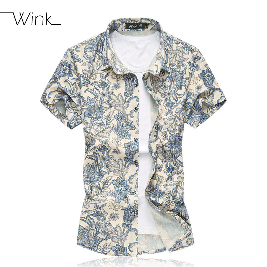 Floral Men Shirts Luxury 100% Cotton Short Sleeve Slim Fit shirts
