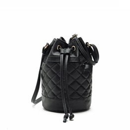 Quilted Bucket Shape Leather Shoulder Bag for Women