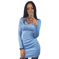 Diamonds V-Neck Women Party Dress Short Mini Sexy Dress