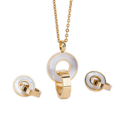 Gold Plated Stainless Steel Pendant Necklace Earrings Fashion Jewelry Sets