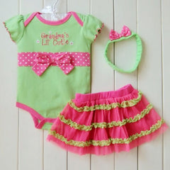 3pcs Infant Baby Girl Polka Dot Headband+Romper+TUTU Skirts Bowknot Outfit S03