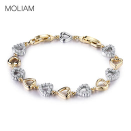 Gold Platinum Plated Crystal Zircon Lovely Heart Bracelets for Women