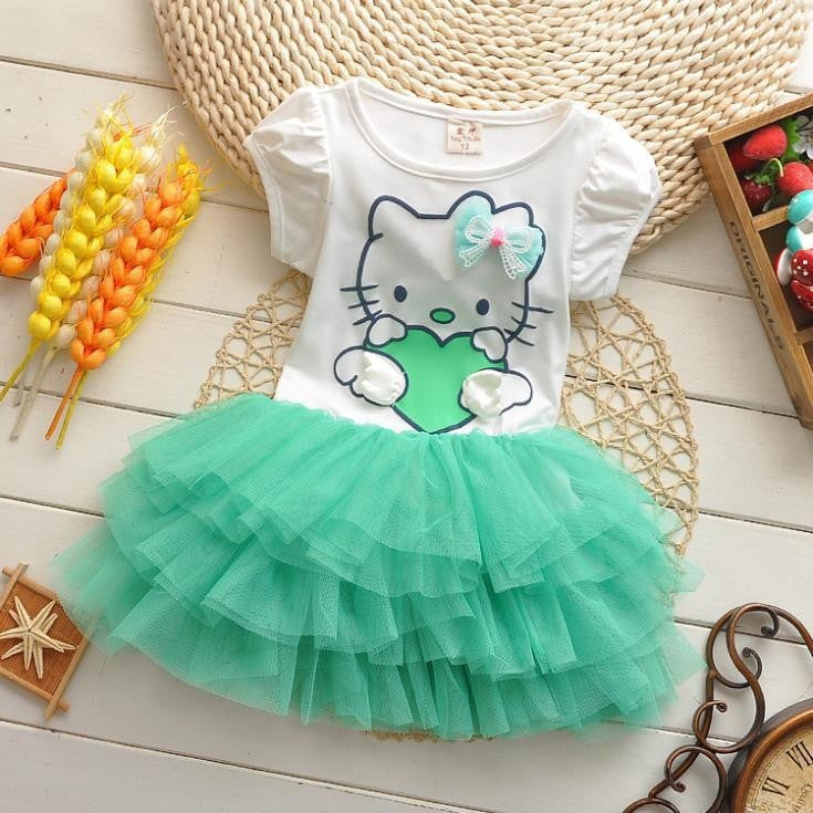 Summer style girls dress Hello kitty cartoon Wings dress Kids love children's clothing
