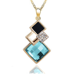 Hollow Golden Geometry Crystal Drop Necklace for Women