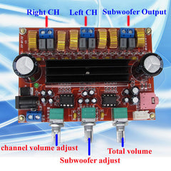 2.1 Digital Audio Amplifier Board Subwoofer Speaker Amplifiers DC12V-24V 2*50W+100W