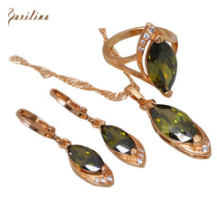 Glam Mysterious Yellow Gold Plated Pendants/Ring/Earring jewelry Sets