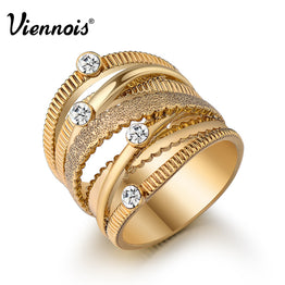 Wide Gold Plated Multilayer Hollow Rings for Women