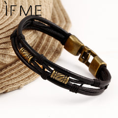 Latin Rope Chain Leather Bracelet Buckle Decoration Retro Bracelets For Men