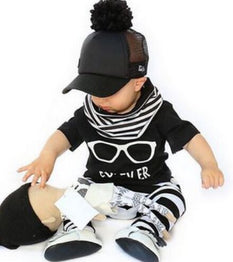 Hot selling short-sleeved T + stripe pants clothing set for Boys