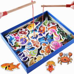 32Pcs Wooden Magnetic Educational Fishing Toy Set