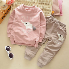 Elephant Cartoon Character Cotton Clothing Sets