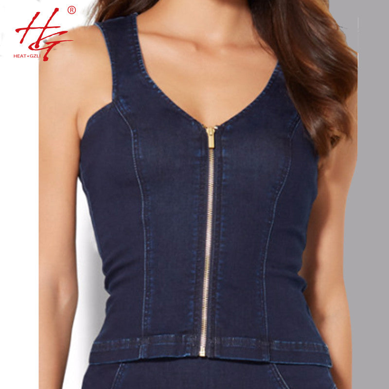 HG Spring women denim tank tops zipper front side sleeveless tops