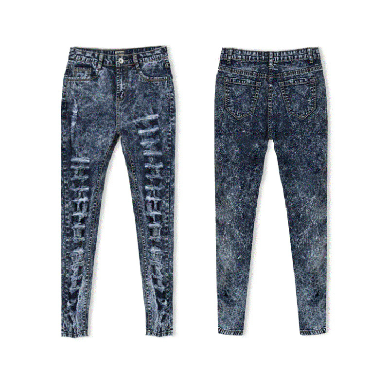 Women Jeans Holes Ripped Fashion Skinny High Waist Female Washed Denim Pants