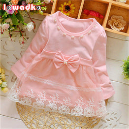 Spring Long Sleeve Lace Bow Baby Girls Dress for Party/Birthday