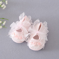 Elegant Lace & Flower Design Soft Shoes for Baby girls.