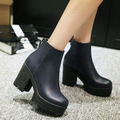 WETKISS Fashion Ankle High Heels Thick Platform Casual Women Shoes