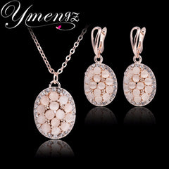 YMENGZ Gold Plated Wedding Engagement Jewelry Round Pendant Necklace and Earring Sets