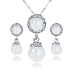 Vintage Bridal  Pearl Necklaces & Earrings Jewelry Sets For Women Wedding Crystal Accessories