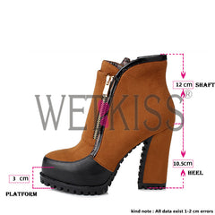 WETKISS Thick High Heels Sexy Zip Metal Boots for Women