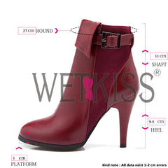 WETKISS High Thin Heels Sexy Buckle Strap Motorcycle Spring Boots Shoes