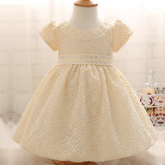 New Fashion Summer Crystal Diamond Print Christening Gown Dress for Newborn