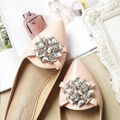 Casual toe rhinestone ladies shoes flat shoes women