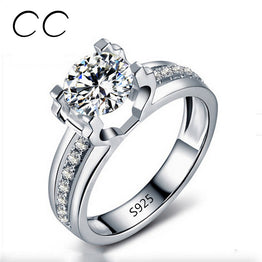 White Gold Plated 1.5 Carat AAA CZ Diamond Wedding Rings For Women