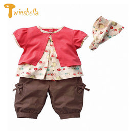 TWINSBELLA Baby Girl Short Sleeve Cotton Flower Print T-shirt+Pant+Headband 3PCS Set