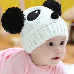 Toddlers Knited Crochet Beanie Cartoon Panda Cap with Balls for Winter