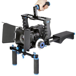 Video Stabilizer Shoulder Mount Rig+Matte Box+Follow Focus+Cage for Canon DSLR Camera