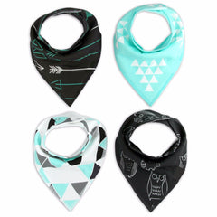 4Pcs Colorful Cute Print Cotton Soft Bandana Triangle Scarf for Newborn