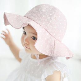 Pink/White Cotton Sun Bucket Hat for Girls