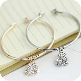 Rhinestones Heart Design Hollow Carved Peach Bracelets for Women